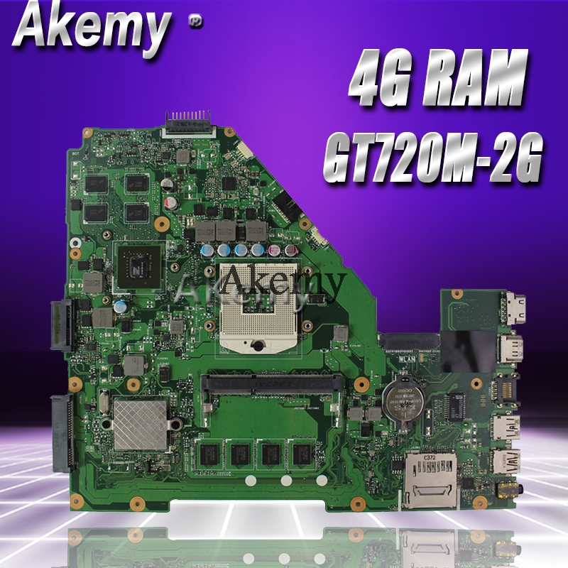Akemy NEW X550VC Laptop Motherboard For ASUS X550VC R510V X550V X550 Test Original Mainboard 4G RAM GT720M-2G