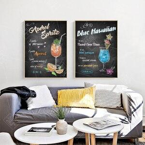 Image 2 - Abstrait dessiné à la main coloré Cocktails boissons toile Art affiches et impressions Pub Bar décoration mur photo peinture sans cadre