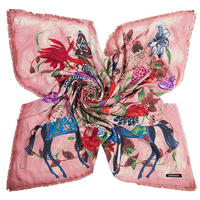 135cm*135cm Thick Warm Winter Women 2017 New Fashion Euro Design Bird Butterfly Flower and Horse Printed Square Scarf Big Shawl