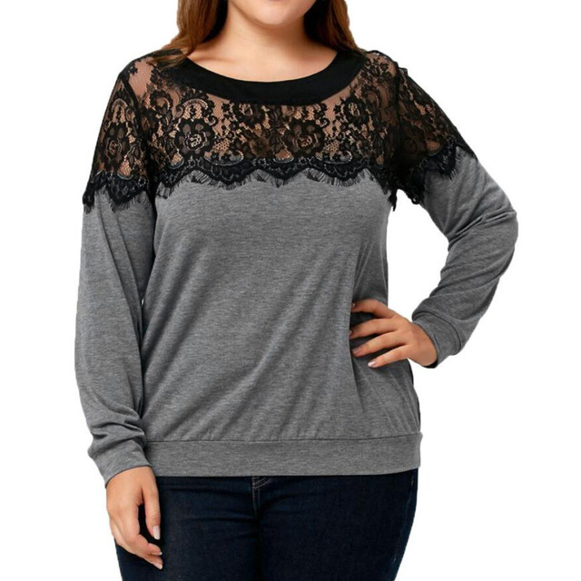 2018 new long sleeve christmas t shirts women lace patchwork t shirt women tops plus