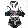 Sexy Sutiã Roupa do Desgaste da Dança de Strass Personalizado das Mulheres Shorts De Cintura Alta Cristais Luxo Barroco Conjunto de Roupas de Palco Cantora
