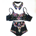 Sexy Women's Dance Wear Rhinestone Outfit Customized Bra High Waist Shorts Luxury Crystals Baroque Singer Stage Clothing Set