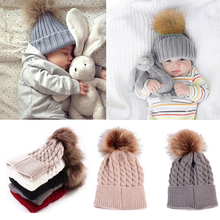 Baby Toddler Kids Boys Girls Knitted Caps with Fur Ball Pompom Cute Hats Crochet Winter Warm Hat Cap Beanies 6 Colors Accessory