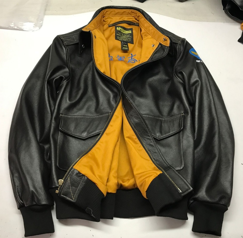 natural cow leather G1 motorcycle rider jacket male vintage genuine cowhide leather biker jacket