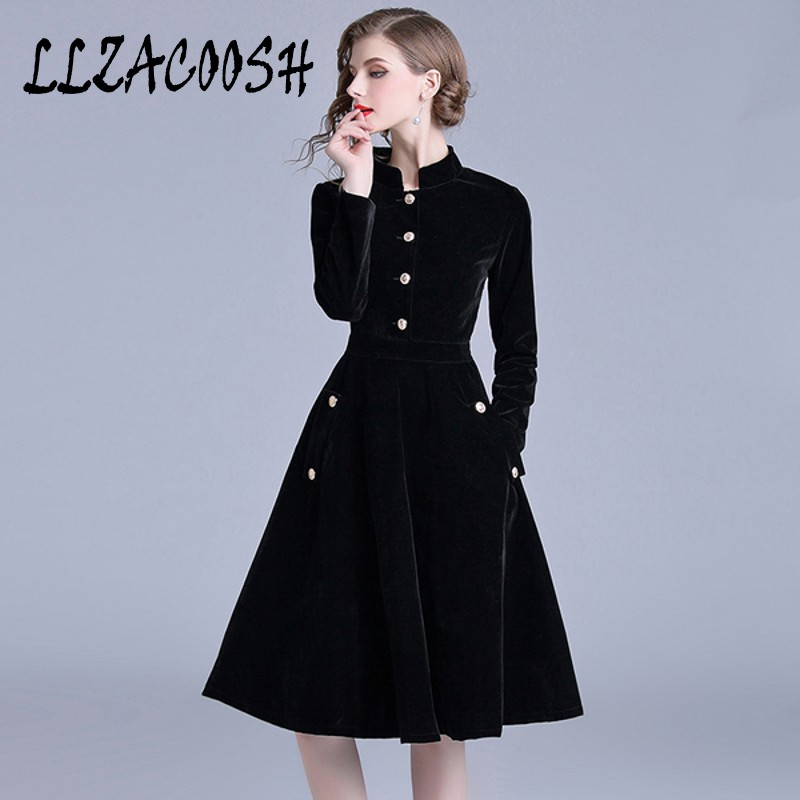 Robe élégante en velours noir robes d'hiver femmes 2018 Vestido Vintage à manches longues dames robes Tunique Femme