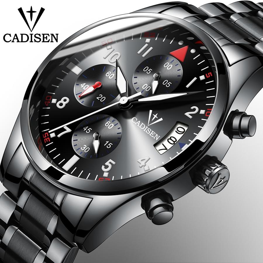 2018 New CADISEN Men's Chronograph Casual Watch Luxury Brand Quartz Wrist Watches Military Men Clock Male Waterproof Sport Watch стоимость