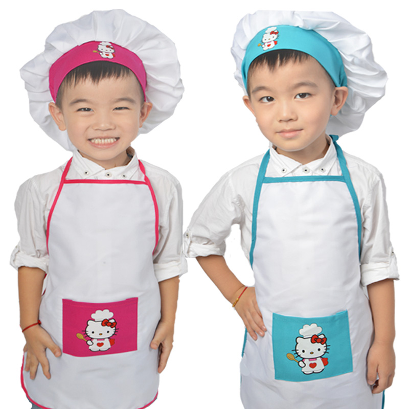 hello kitty polyester kids chef apron sets child cooking painting apron chef hat and apron. Black Bedroom Furniture Sets. Home Design Ideas
