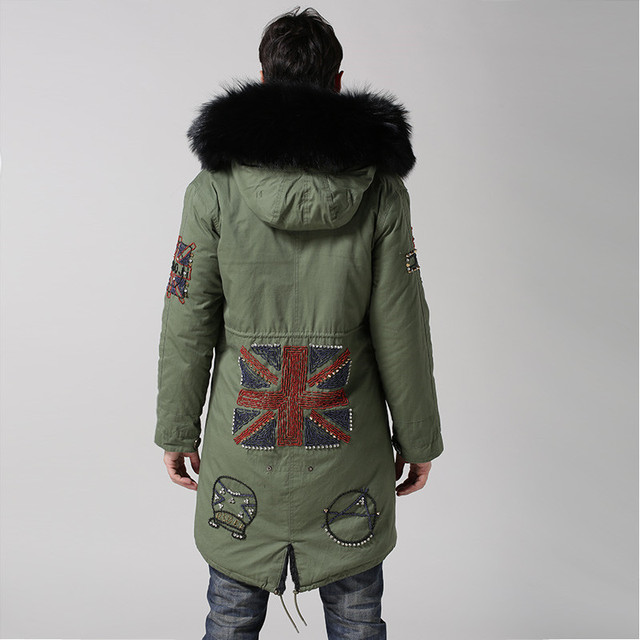UK style army green coat black inside long jacket real big raccoon fur collar with faux fur lining beading hood men fur parka