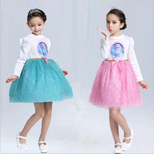 Korean Sweet Girls Dress For Autumn And Winter long-sleeves princess dress Clothes Children Party princess dresses pink and blue
