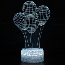 Balloons 3D Visual LED USB Touch Table Lamp Romantic Home Decorative 7 Color Novelty Decoration Night Light Girlfriend Kids Gift 2018 beautiful unicorn romantic gift 3d led table lamp 7 color change night light room decor lustre holiday girlfriend kids toys