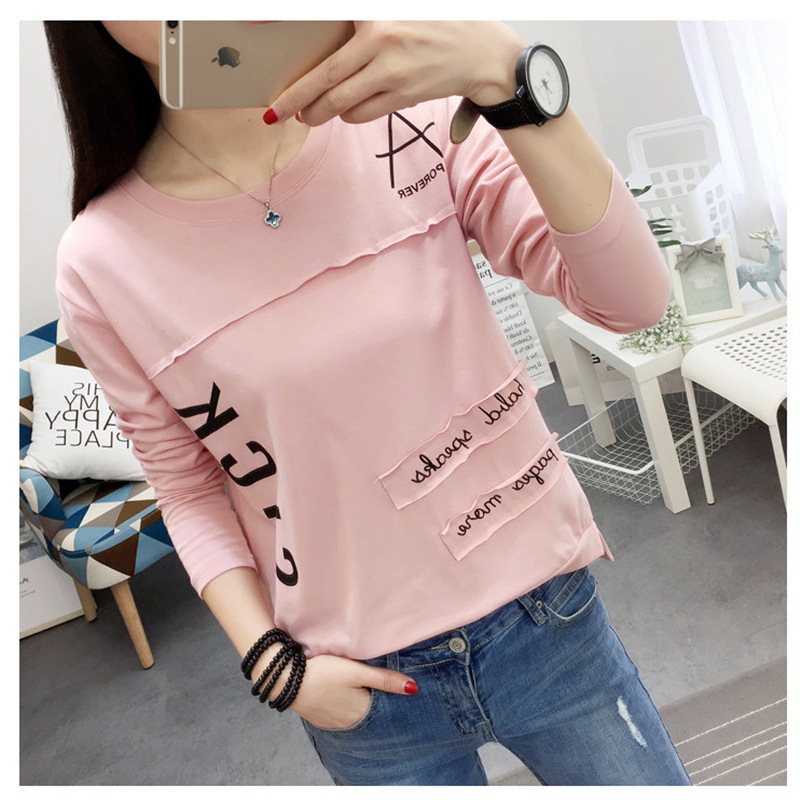2017 Korean New Autumn Women Long Sleeve T Shirt Fashion Letter Printed Kawaii Student T Shirt
