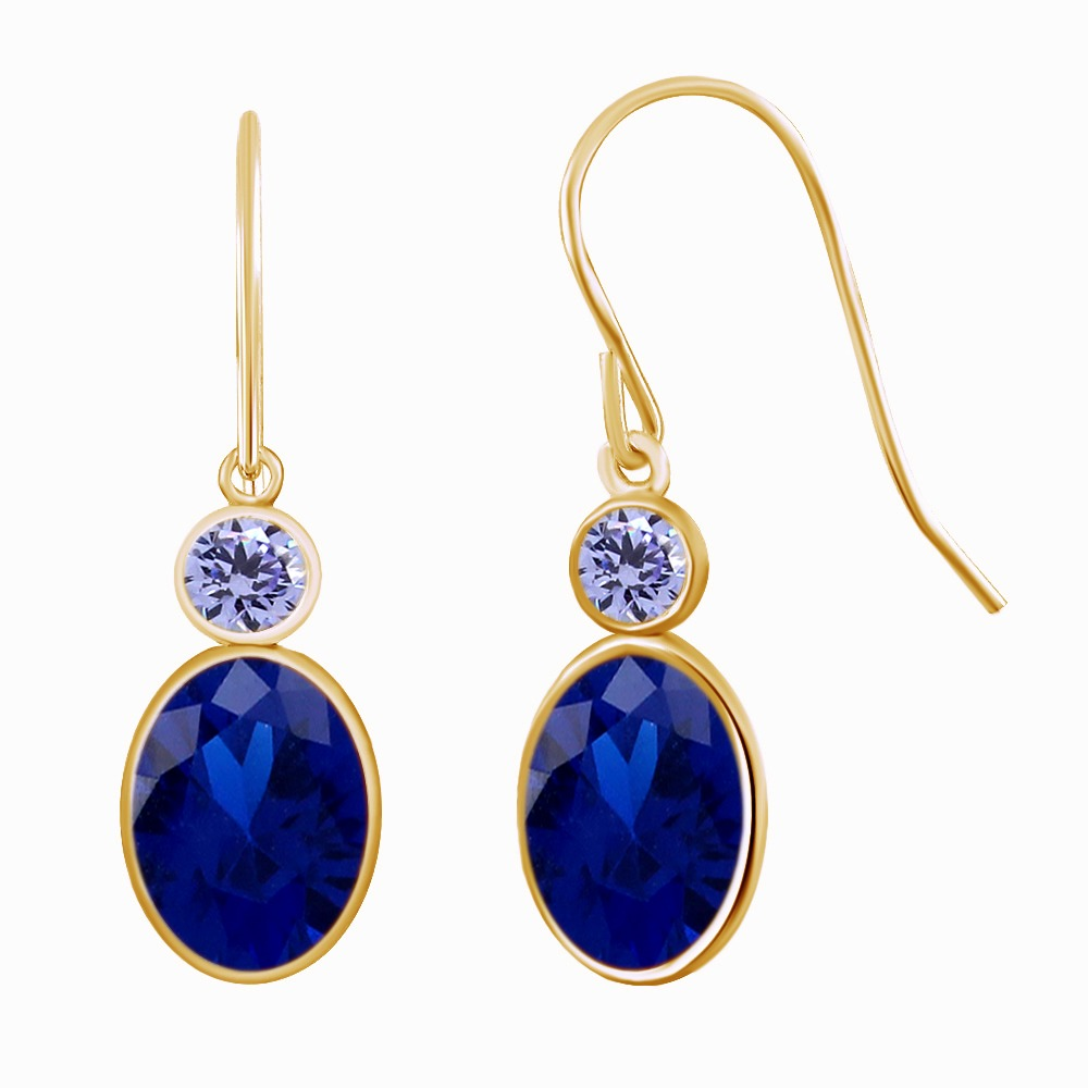 2.28 Ct Oval Cut Blue Blue Stone & Blue Stone Gold-colored Over Dangle Earrings gold plated stone asymmetry dangle earrings