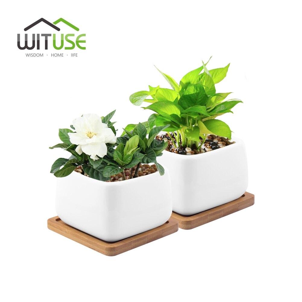 WITUSE 2x For Balconie Flower Pot L Size Ceramic Plant Garden Pot Glazed Desktop Succulent Plants Clay Garden Pot Planter Tools