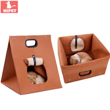 HIPET Felt Puppy Cat nest House Foldable Washable Outdoor Portable Pet Carrier Cage Small Dogs Kitten Sleeping Bed Cave