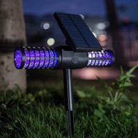 LED Solar Powered Outdoor Yard Garden Lawn Light Anti Mosquito Insect Pest Bug Zapper Killer Trapping USB Lantern Lamp summer