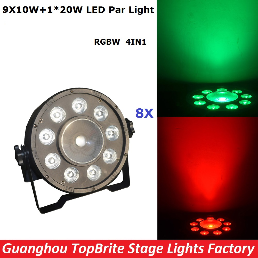Factory Price NEW Arrival 8XLot LED Par Light High Power Supply 9X10W+20W RGBW 4IN1 Professional Stage Lighting Fast Shipping