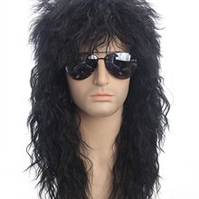70s 80s Halloween Costumes Rocking Dude Black Curly Synthetic Hair Wigs Punk Metal Rocker Disco Mullet Cosplay Wig + Wig Cap