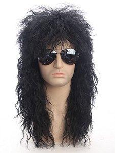 70s 80s Halloween kostiumy Rocking Dude czarne kręcone włosy syntetyczne peruki Punk metalowy Rocker Disco Mullet peruka do Cosplay + czapka z peruką
