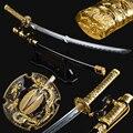 Брэндон мечи Золотой Тачи Меч ручной работы Battel готовый японский самурайский меч катана Полный Тан острый высокоуглеродистой стали поезд ...