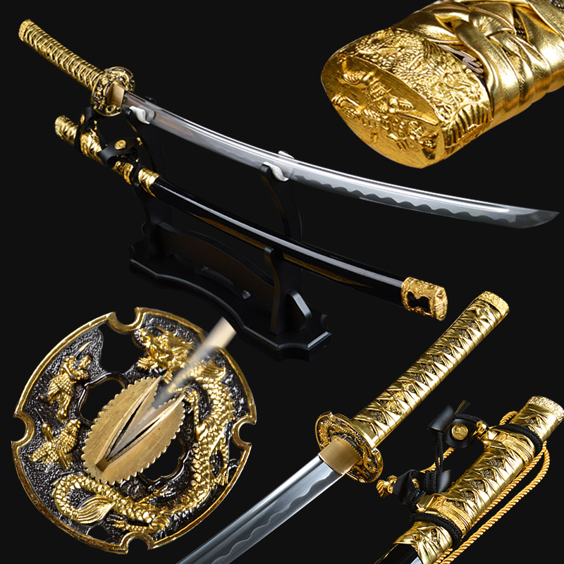 Brandon Svärd Golden Tachi Sword Handgjord Battel Ready Japansk Samurai Katana Full Tang Sharp High Carbon Steel Train Espadas