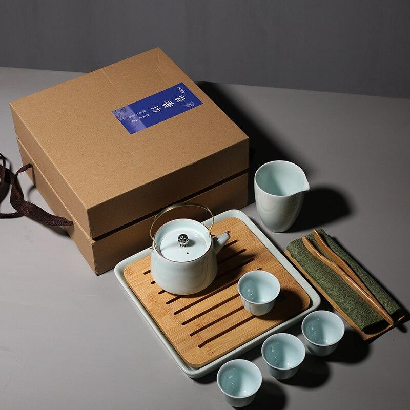 PINNY Celadon Kung Fu thé ensemble pigmenté céramique théière porcelaine 150 ml Gaiwan avec plateau à thé 50 ml thé cérémonie décoration - 4