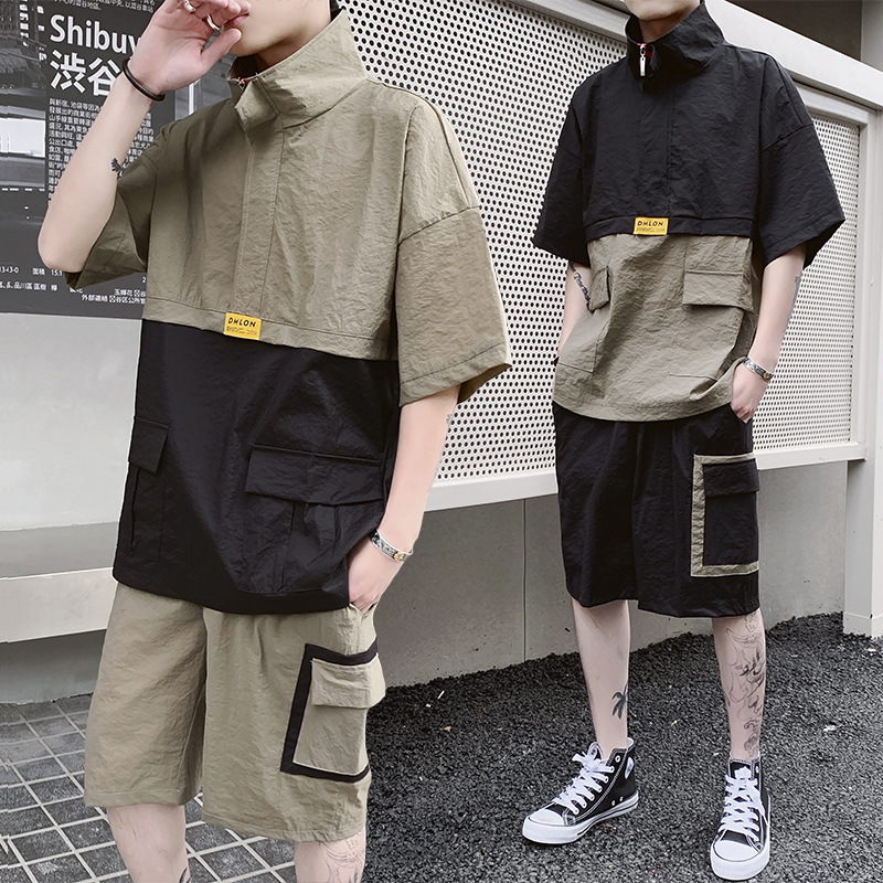 2019 New Summer Streetwear Men's Patchwork Suit Short Sleeve T-shirt+Shorts Hip Hop Two Piece Set For Men Tracksuits Clothing