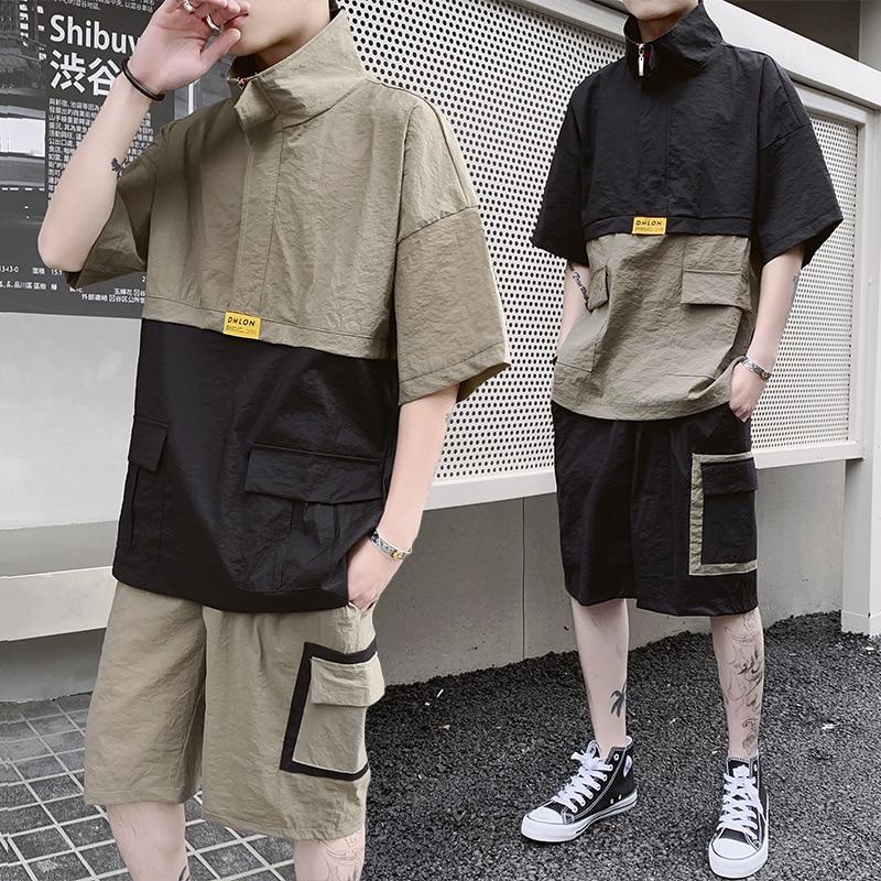 2019 New Summer Streetwear Men's Patchwork Suit Short Sleeve T-shirt+Shorts Hip Hop Two Piece Set For Men Tracksuits Clothing