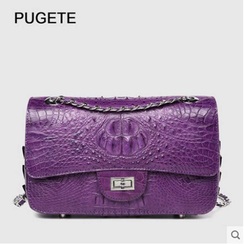 pugete crocodile  Female package 2019  New style chain bag for ladies, cross-body bag with one shoulder, stylish leather square