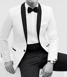 Image 2 - 2017 Nuova Vendita Calda Smoking Dello Bianco Degli Uomini di Processo di Colore Del Vestito Collo a Scialle Bianco Lo Sposo Si Adatta Alle Uomini (Jacket + Pants + Tie)