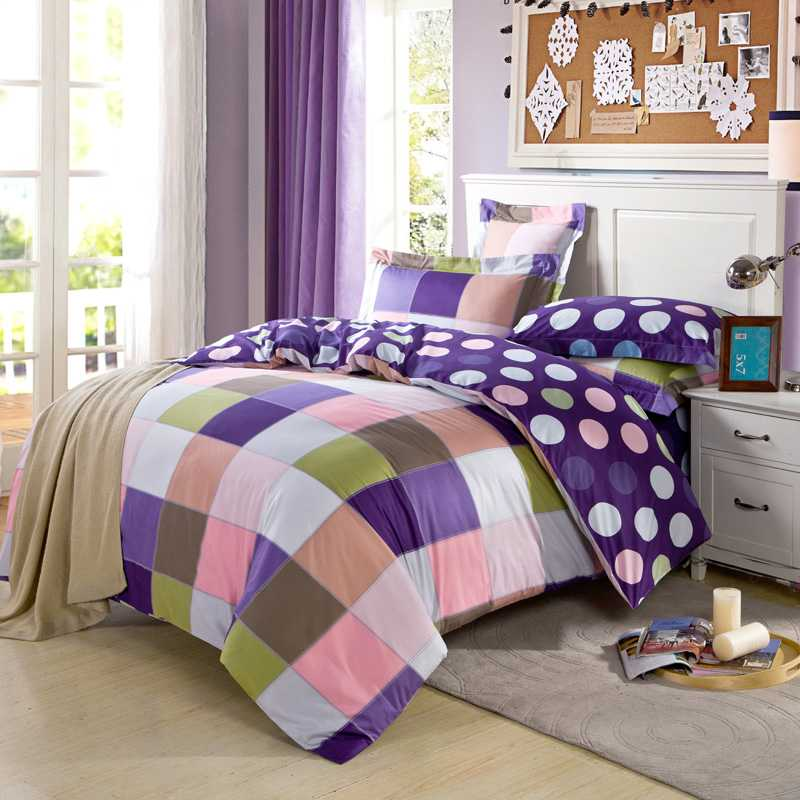 100 cotton fabric plaid purple bedding sets full queen king size 45pc brief - Plaid Comforter