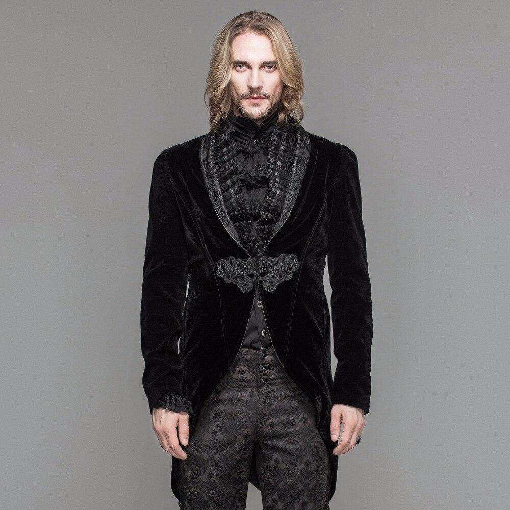 Дьявол Мода готическое мужское платье куртка стимпанк Черный Красный одной кнопки пальто ласточкин хвост Вечеринка ласточкин хвост пальто