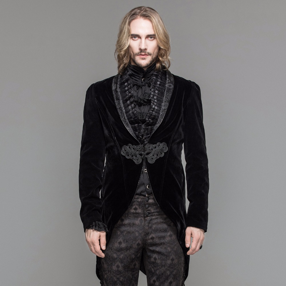 Diable mode gothique hommes robe veste Steampunk noir rouge simple bouton queue d'aronde manteaux soirée fête Swallowtail manteaux
