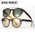 2016 Novo TF Homens Mulheres Moda óculos de Sol Retro Rodada Unisex Duplo Vigas Armação Circular Óculos de Sombra Tom Marca EUA SG063