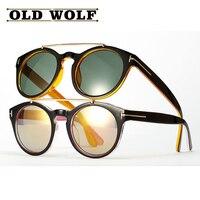 2017 new tf мода мужчины женщины ретро круглые очки унисекс двойные балки круговой кадр тень очки tom бренд сша sg063