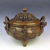 Brass CHINESE crafts Gold snail 23 relief furnace copper incense burner copper incense stove