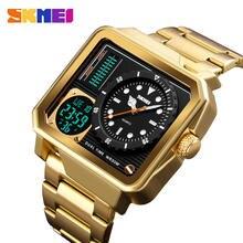 Skmei цифровые/Кварцевые часы для мужчин с ремешком из нержавеющей