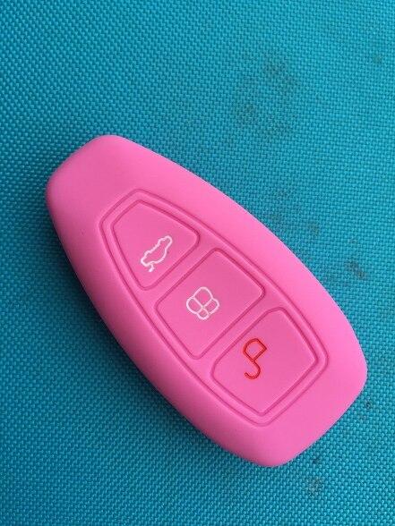 1 шт. 3 кнопки силиконовый чехол для ключей от машины чехол для Ford Focus 3 MK3 Mondeo Fiesta Kuga Escape Ecosport 2013 Smart Car style - Название цвета: Pink