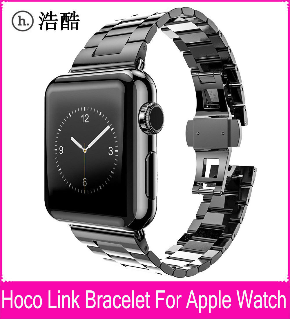 ФОТО Three Pointers Model Slimfit Steel Black Link Bracelet Watchband For Apple Watch 42mm 38mm With Great double Butterfly Button