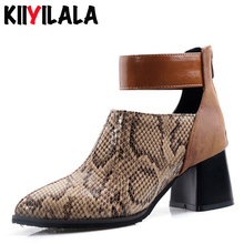 Kiiyilala New Snake Print Platform Women Fashion Boots Pointed Toe Square Heel Back Zipper Ankle Shoes Woman Pumps