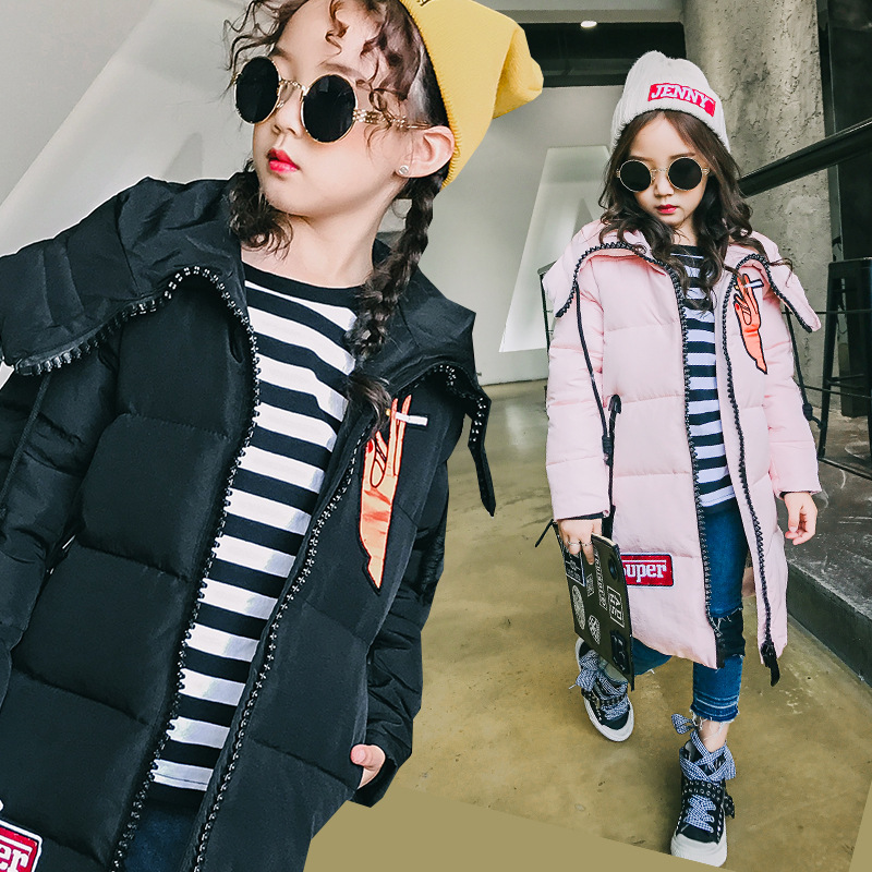 Girl Down jacket coat hooded winter 80% white duck down for 6 7 8 9 10 11 12 13 14 years child Parkas 2017 tide long Outerwear топор туристический duck commander® quax 9 9 см