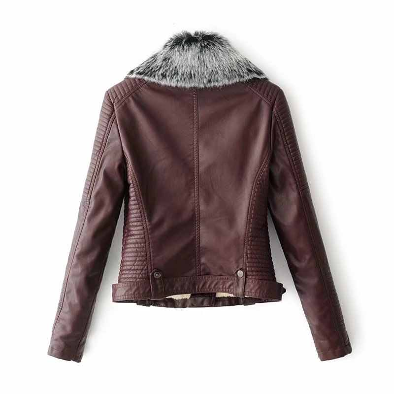 Damen Schwarz Leder Jacken 2018 Neue Herbst Winter Faux Lämmer Warme Pvc Mantel Frau Schlank Langen Ärmeln Motorrad Biker Jacke