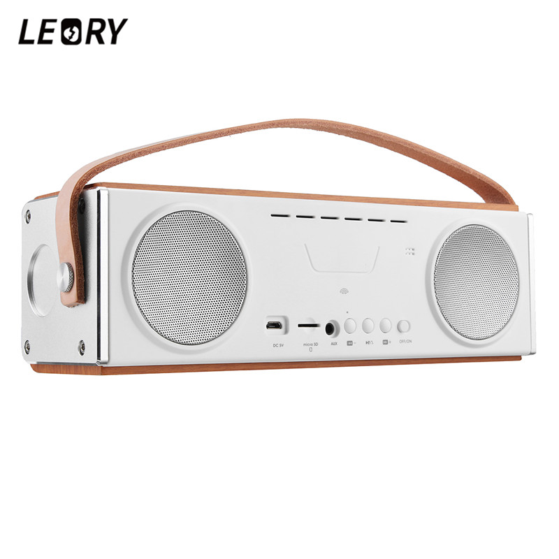 LEORY UN22 20W Home Bluetooth Speaker 3600mah Portable Wireless Bluetooth Speaker with Mic Handfree TF Wooden Subwoofer цена