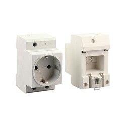 EU Din Rail Mount Power Socket 2 Pins Extention Distribution Box 10-16A 250V Modular Socket for Switchgear