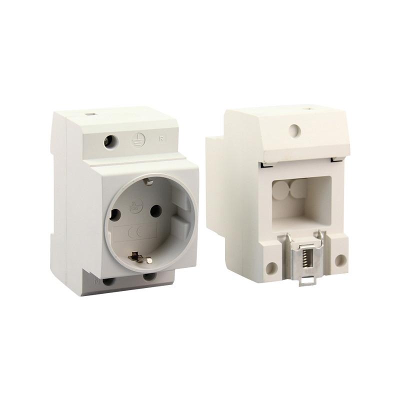 Enchufe de alimentación para montaje en riel EU Din, caja de distribución de extensión de 2 pines 10-16A 250V, enchufe Modular para interruptores