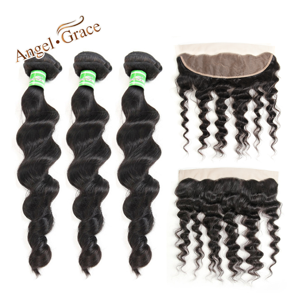 Peruvian Loose Wave Bundles With Frontal Angel Grace Hair 3 Bundles With 13x4 Lace Frontal 100% Remy Human Hair With Frontal