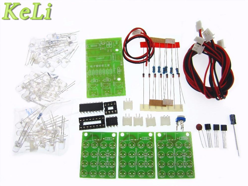 5Set Suite Self DIY Electronic Kit DIY KIT for Self-Assembly CD4017 + NE555 Flash Light Explosion-flashing LED