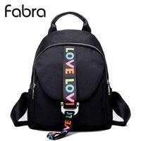 Fabra Fashion Waterproof Nylon Backpacks Women Solid Zipper Preppy Style Soft Back Pack Unisex Small School