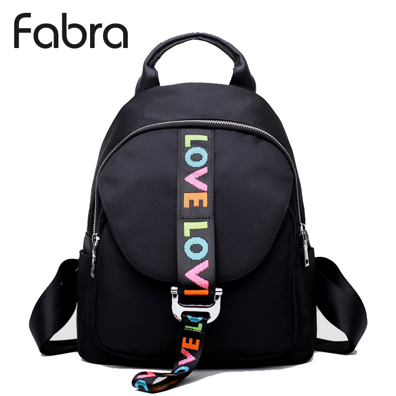 Fabra Fashion Waterproof Nylon Backpacks Women Solid Zipper Preppy Style Soft Back Pack Unisex Small School Bag Love Embroidery