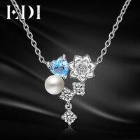 EDI Gül Çiçek Doğal Kalp Şekli Topaz Inciler 925 Ayar Gümüş Kolye Kolye Kadınlar Için Trendy Güzel Takı