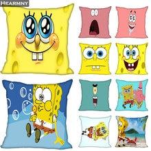 New Arrival Spongebob Pillow Cover Bedroom Home Office Decorative Pillowcase Square Zipper Pillow cases Satin Soft